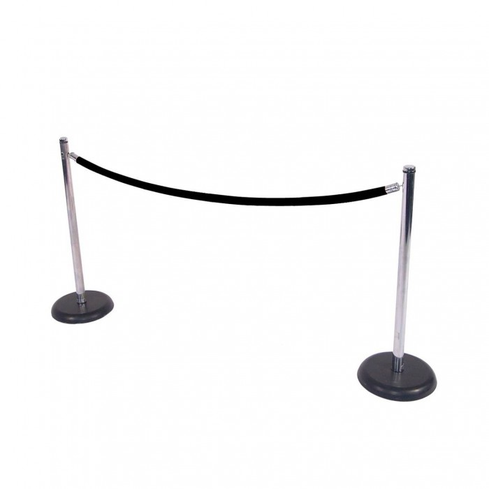 C8011 - Crowd Control - Chrome Stanchion with Black Base - Black Rope
