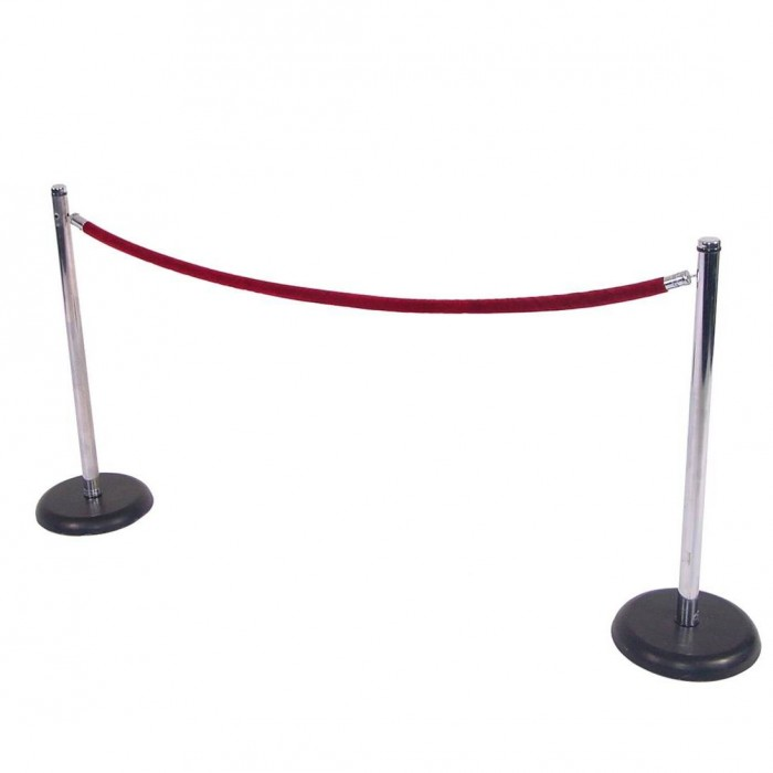 C8013 - Crowd Control - Chrome Stanchion with Black Base - Red Rope