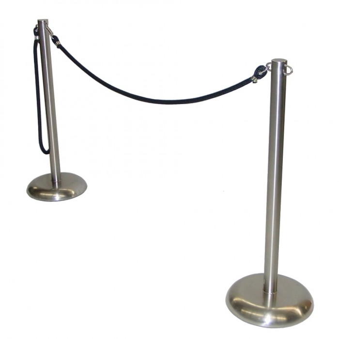 C8021 - Crowd Control - Stainless Steel Stanchion - Black Rope