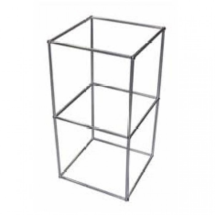 D5312 - Display Cube - QED - Two Tier - Alloy Frame - Glass Shelves