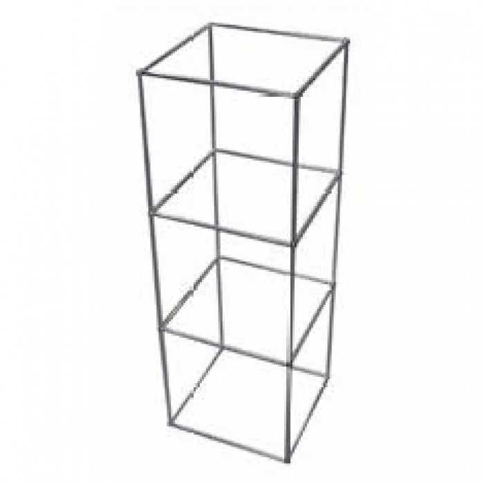 D5313 - Display Cube - QED - Three Tier - Alloy Frame - Glass Shelves