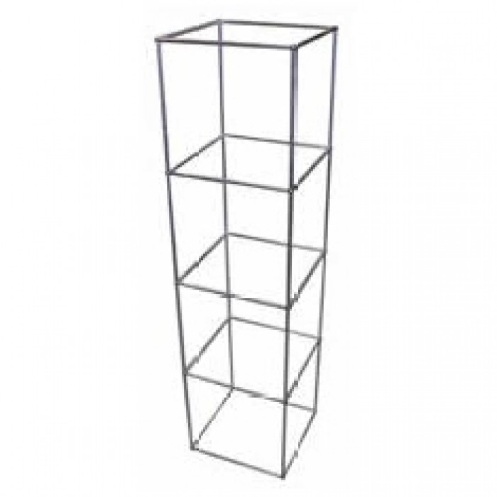D5314 - Display Cube - QED - Four Tier - Alloy Frame - Glass Shelves