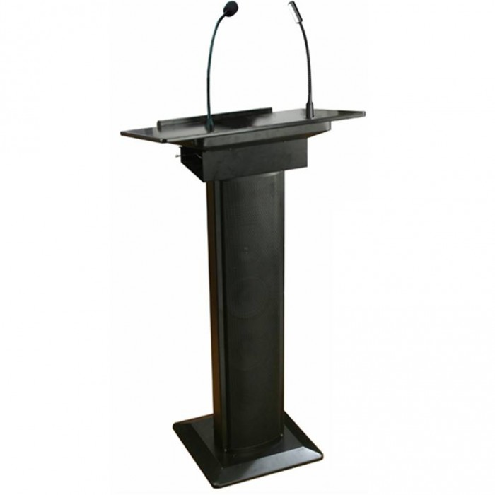 L3011 - Lectern - Exec - Black - Mike, Amp, Speakers & Light