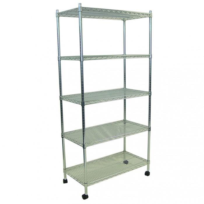 S1001 - Display Shelving - Chrome - 5 Shelves - Castors - 460x900x1800h