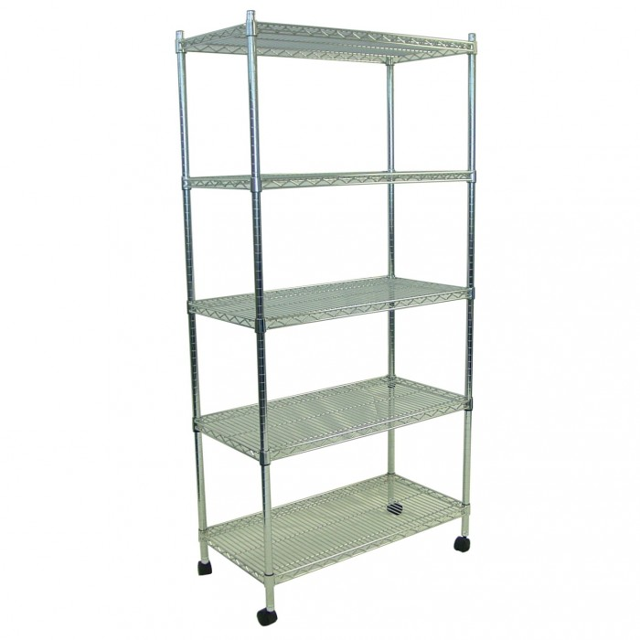 S1002 - Display Shelving - Chrome - 5 Shelves - Castors - 350x900x1800h