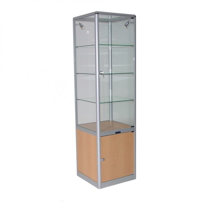 S3002 - Showcase Tower - Glass Top - Tawa Base - 500sq x 1800h