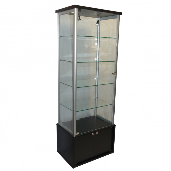 S3003 - Showcase Tower - Glass Top - Black Base - 600x400x1800h