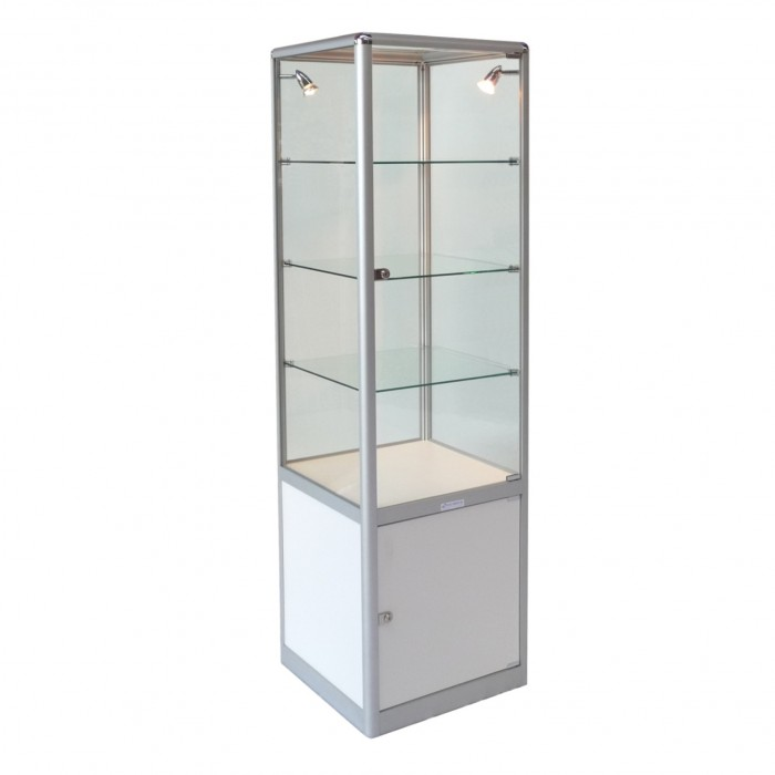 S3005 - Showcase Tower - Glass Top - White Base - 500sq x 1800h