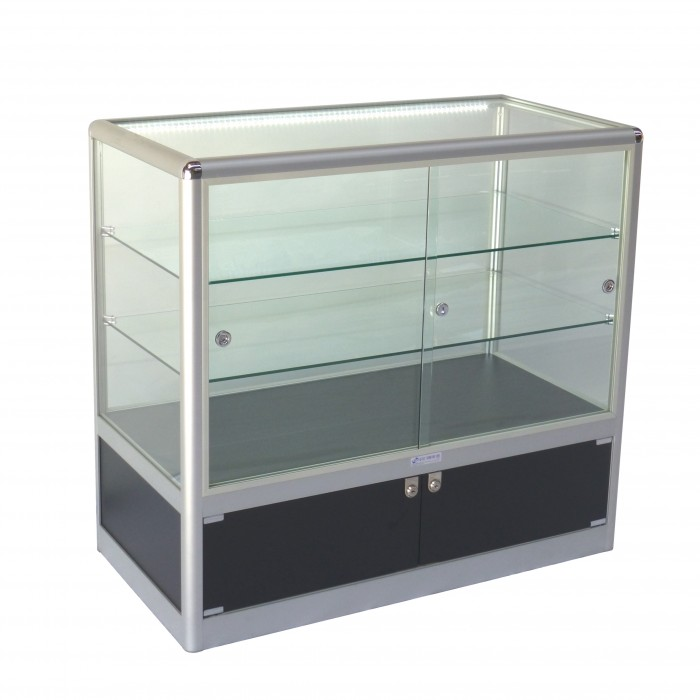 S3006 - Showcase Counter - Glass Top - Black Base - 1000x500x900h